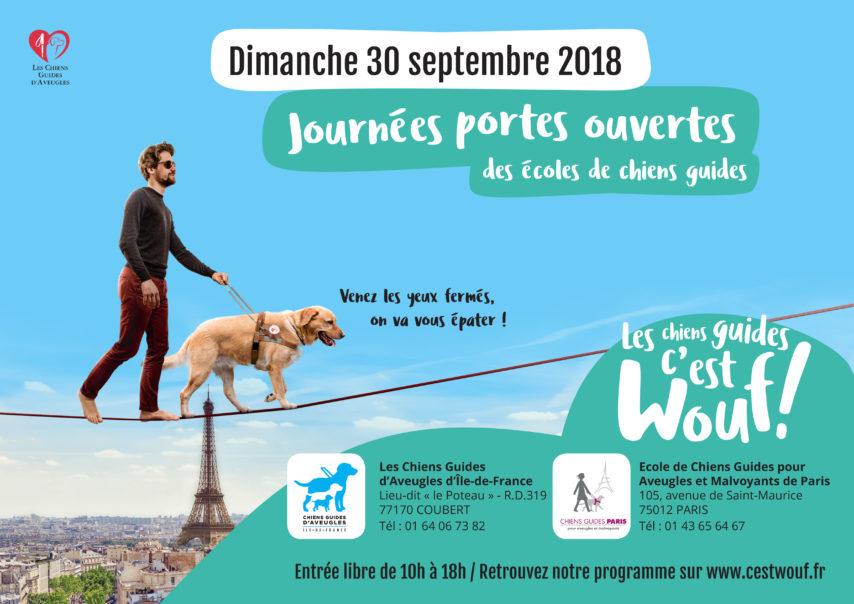 Dimache 30 septembre 2018. journées portes ouvertes des écoles de chiens guides. venez les yeux fermés, on va vous épater. entrée libre de 10h à 18h. : Retrouvez notre programme sur www.cestwouf.fr