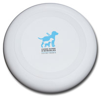 frisbee blanc 23 cm de diamètre avec logo chiens guides d'aveugles idf au centre