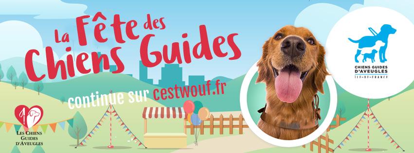 Bannière de la Fête des Chiens Guides d'Aveugles avec une tête de golden roux qui semble sourire
