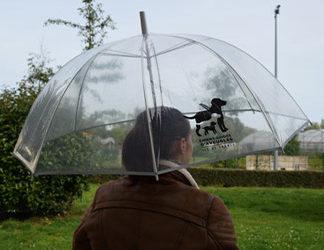 Parapluie loche transparent avec logo de l'association